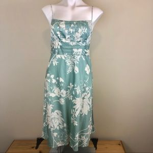 Ann Taylor aqua blue floral print dress, size 4